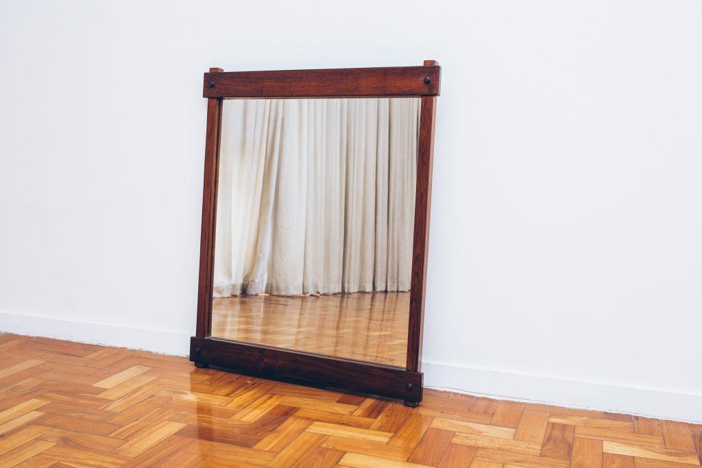 Espelho Retangular Jacarandá 1 - Pé Palito Vintage