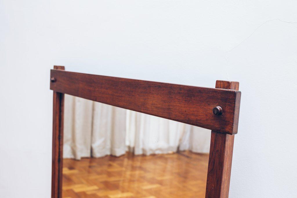 Espelho Retangular Jacarandá 2 - Pé Palito Vintage