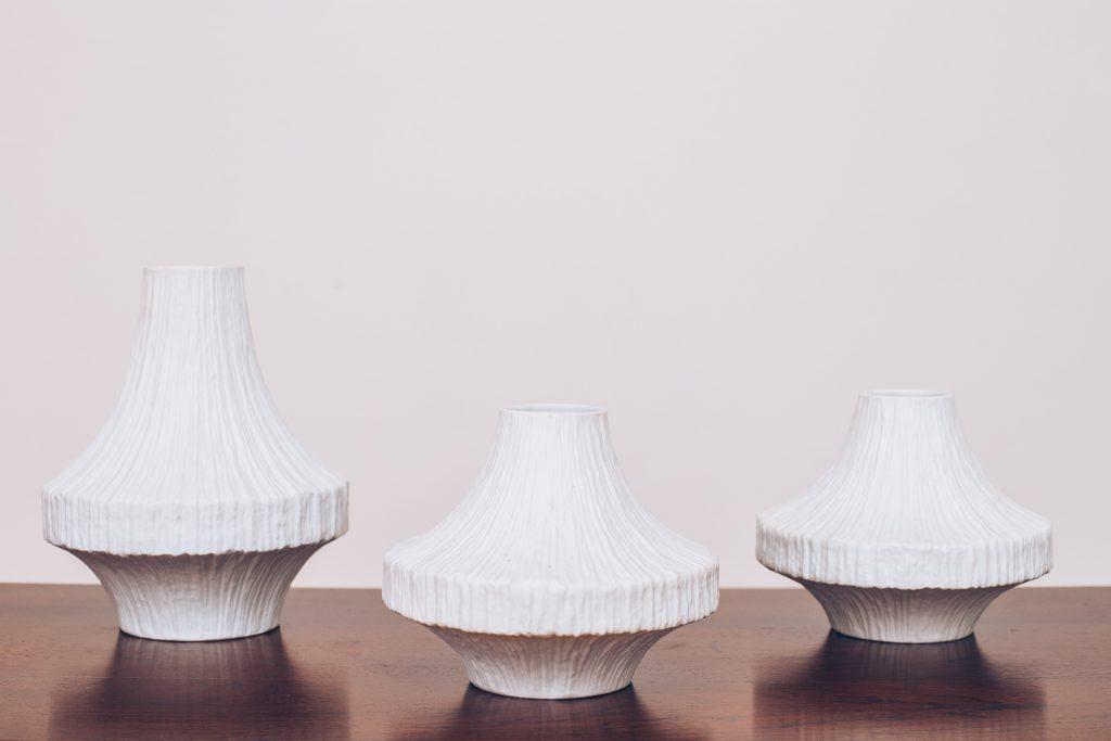 Vasos Alemães Heinrich & Co - Adornos Cerâmica Original de Época - Alemães 1 - pé palito vintage