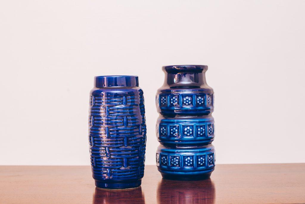 Vasos Cobalt - Adorno Cerâmica Original de Época - azul 1 - pé palito vintage