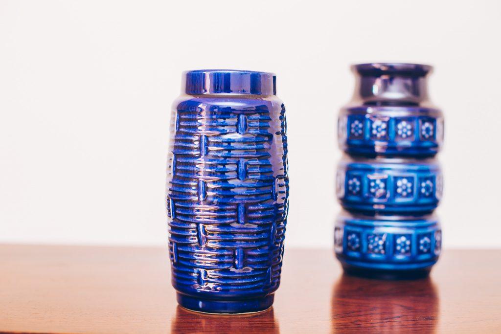 Vasos Cobalt - Adorno Cerâmica Original de Época - azul 2 - pé palito vintage