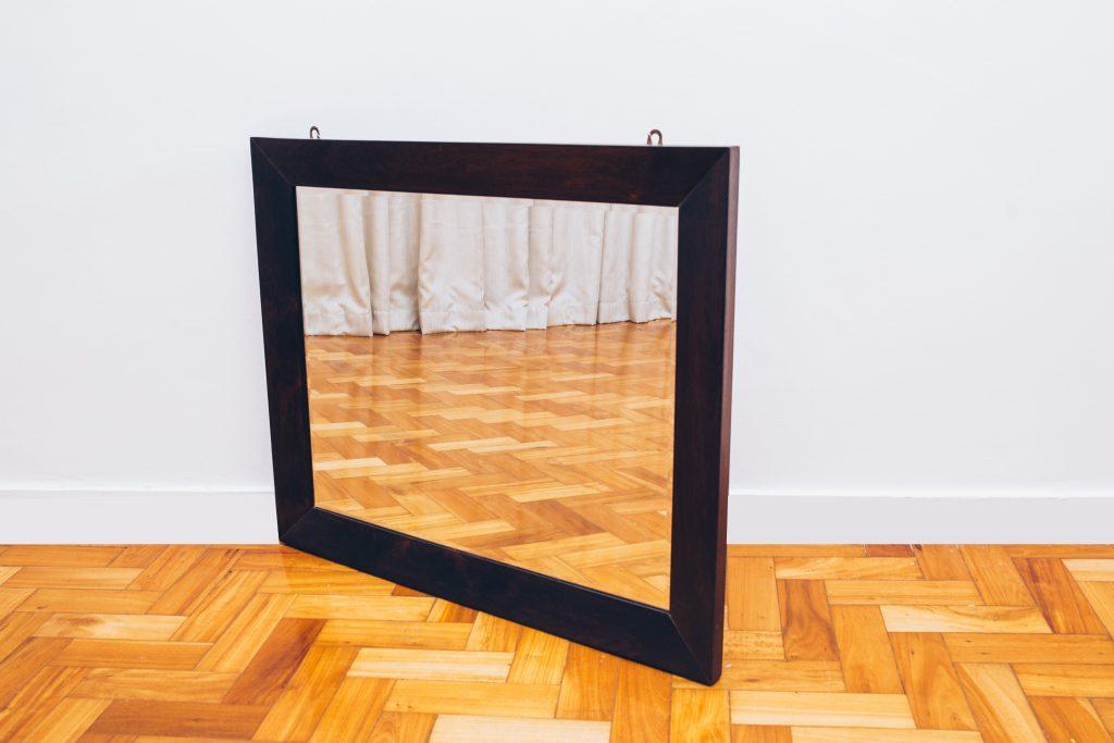 Espelho Retangular Jacarandá - Brasil Anos 60 - 1 - Pé palito Vintage