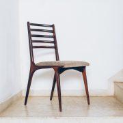 Cadeira Jacarandá Maciço e Pelica 2 - Anos 50 - Pé Palito Vintage