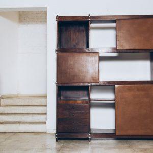 Estante Jacarandá e Couro - Sérgio Rodrigues Anos 60 - 1 - Pé Palito Vintage