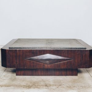 Mesa Centro Geometria Original Anos 60 - Jacarandá - 1 - Pé Palito Vintage