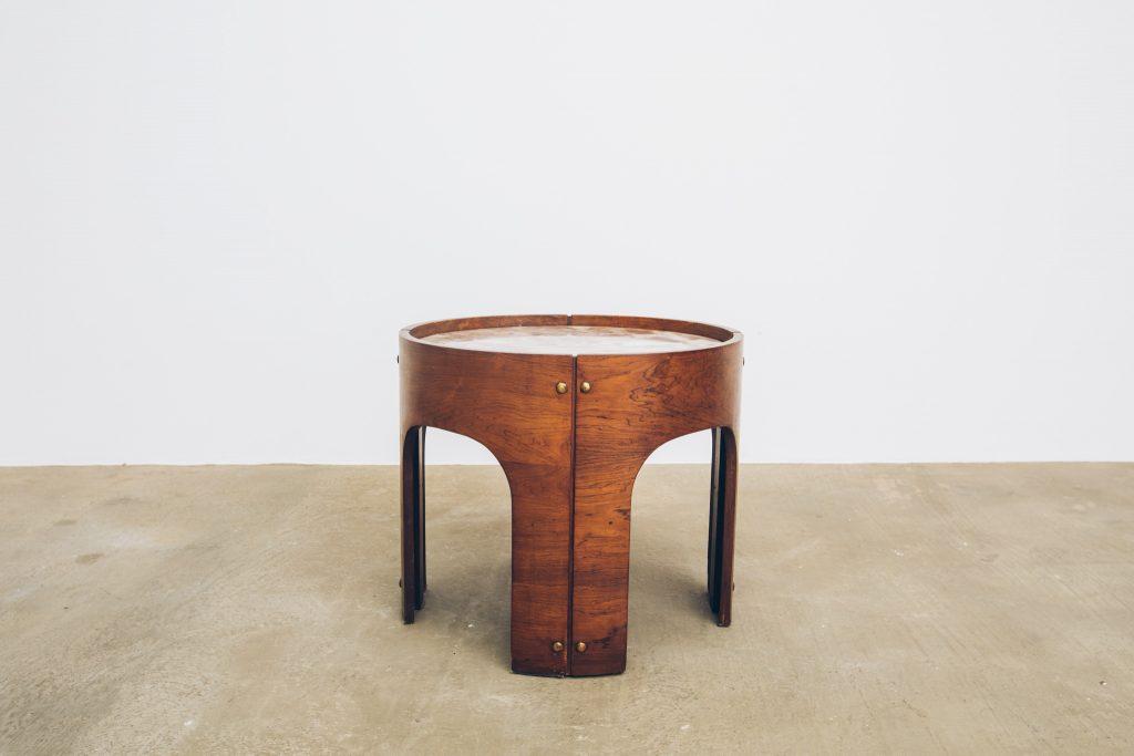Mesa Jacarandá com Mármore Side Table 1 - Pé Palito Vintage
