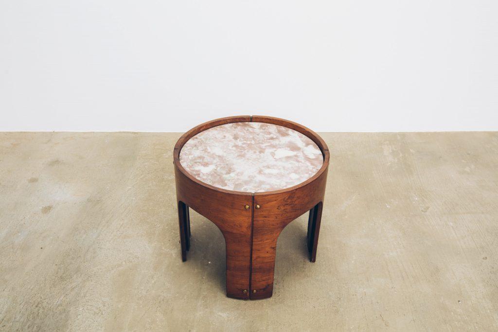 Mesa Jacarandá com Mármore Side Table 2 - Pé Palito Vintage