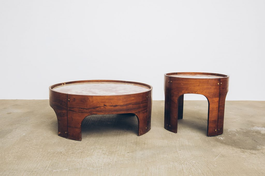 Mesa Jacarandá com Mármore Side Table 4 - Pé Palito Vintage