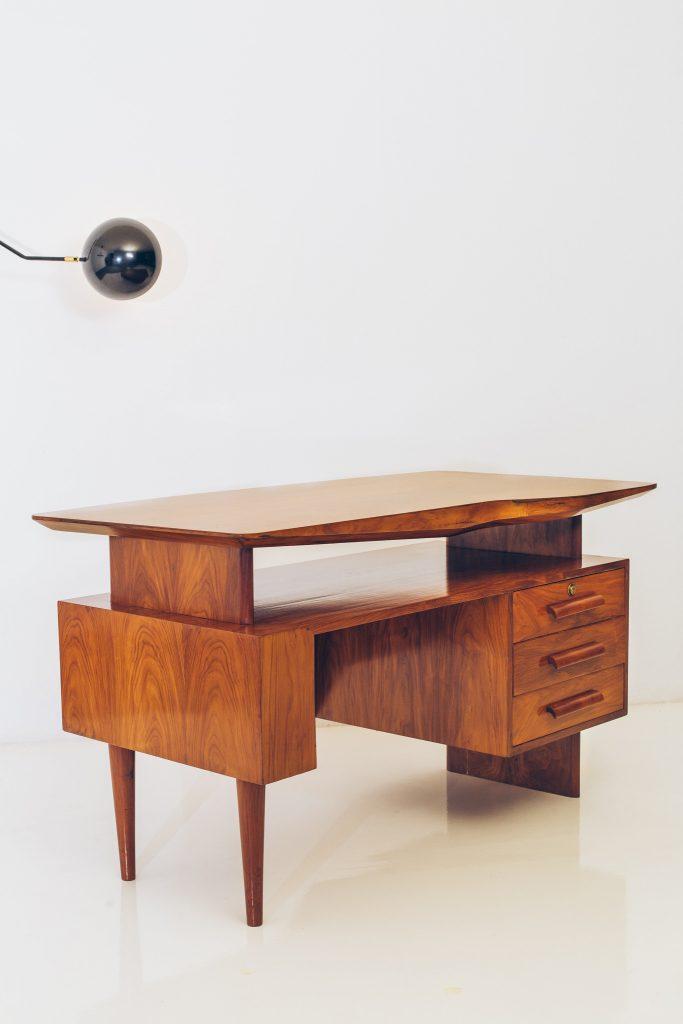 Escrivaninha Modernista Caviúna Atribuída a Giuseppe Scapinelli - Brazil Modern - 1 - Pé Palito Vintage